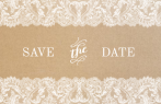 Kraftpapier save the date met wit kant