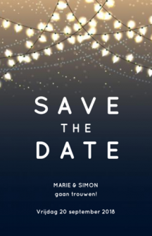 Save-the-date kaart met slinger van lampjes