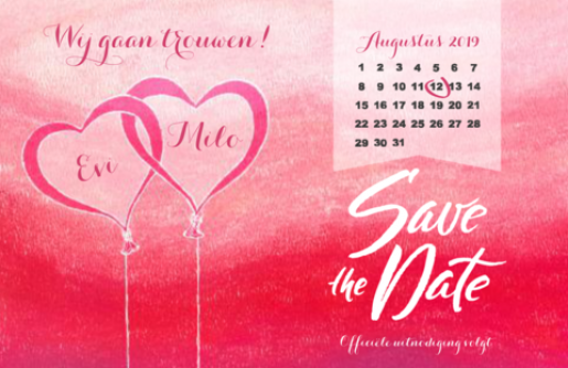 Save the date kaart twee hartjes