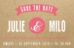 Trendy save-the-date kaart met banner