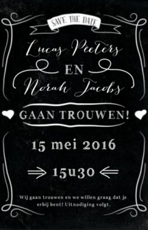 Save-the-date krijtbord kaart met typo