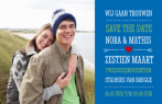 Save the date kaart met blauwe balk en foto