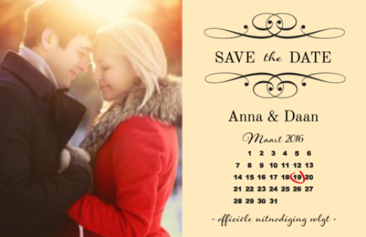 Save the date kaart met kalender