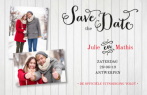 Save the date kaart met wit hout en foto