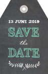 Save the Date Label op krijtbord