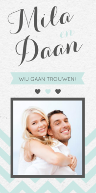 Trouwkaart chevron patroon met foto