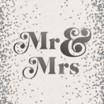 Trouwkaart Mr en Mrs zilver confetti