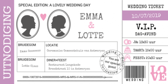 Trouwkaart wedding ticket twee vrouwen