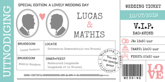 Trouwkaart wedding ticket twee mannen