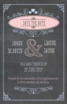 Save the date krijtbord met pastel banners