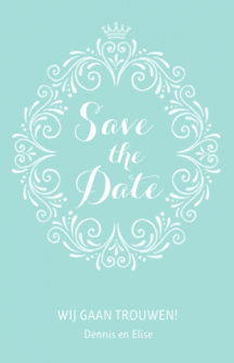 Save the date kaart cirkel met ornamenten
