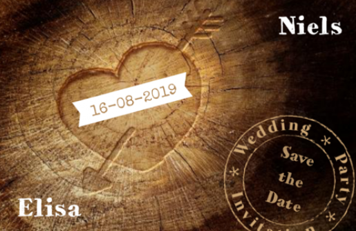 Save the date kaart foto hart in hout