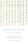 Save the date met vallende confetti