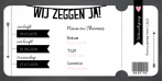 Trouwkaart ticket zwart slinger