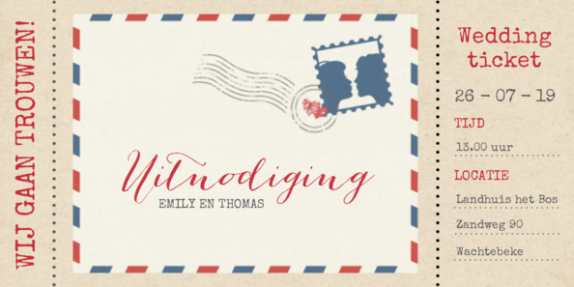 Vintage trouwkaart weddingticket