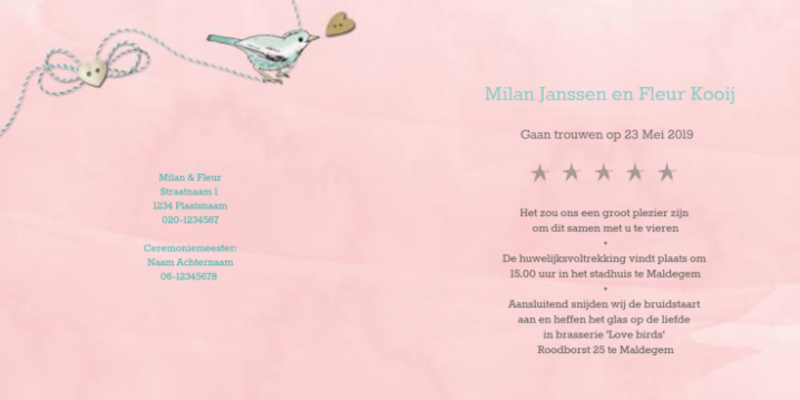 Roze trouwkaart vintage label en love birds