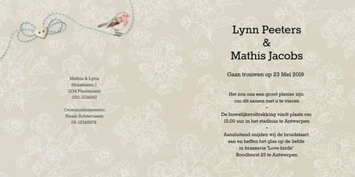 Vintage trouwkaart met label en love birds