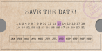 Save the date kaart ticket kraftpapier datum