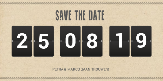 Save the date kaart met klapcijfers