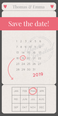 Save the date kaart kraftpapier met kalender