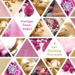 Kerstkaart met fotocollage wellness in roze en goud