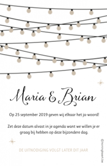 Save the date hout met lampjes