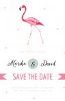 Save the date kaart met flamingo en veertjes