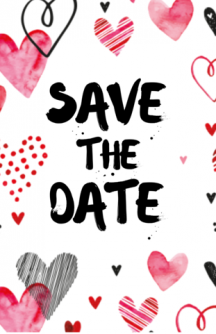 Save the date kaart met watercolor hartjes