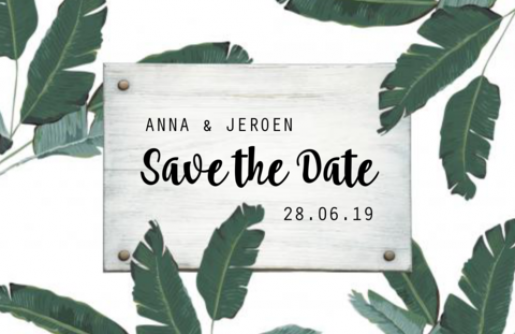 Save the date kaart met bladeren en hout
