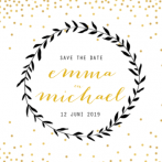 Save the date kaart krans en gouden confetti