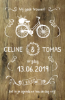 Save-the-date kaart met fiets en slingers