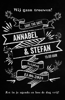 Stoere save-the-date kaart met banners